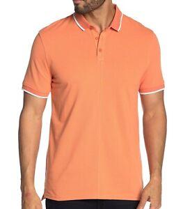 John-Varvatos-Star-USA-Men-039-s-Short-Sleeve-Dover-Tipped-Pique-Polo-Shirt-Papaya