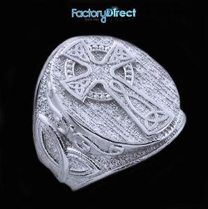 Sterling-Silver-Celtic-Cross-Trinity-Knot-Men-039-s-Ring-Irish