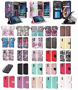 quality design 4a008 58b57 Details about LG Fortune Design Wallet Credit Card ID Kick Stand Flip Phone  Case Cover Cricket