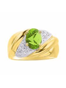 Diamond /& Green Peridot Ring Set In Yellow Gold Plated Silver .925