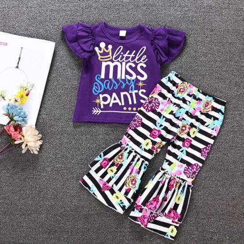 Kids Girls Outfit Set Summer Frill T-Shirt Top Flared Pants Bell-bottom Trousers