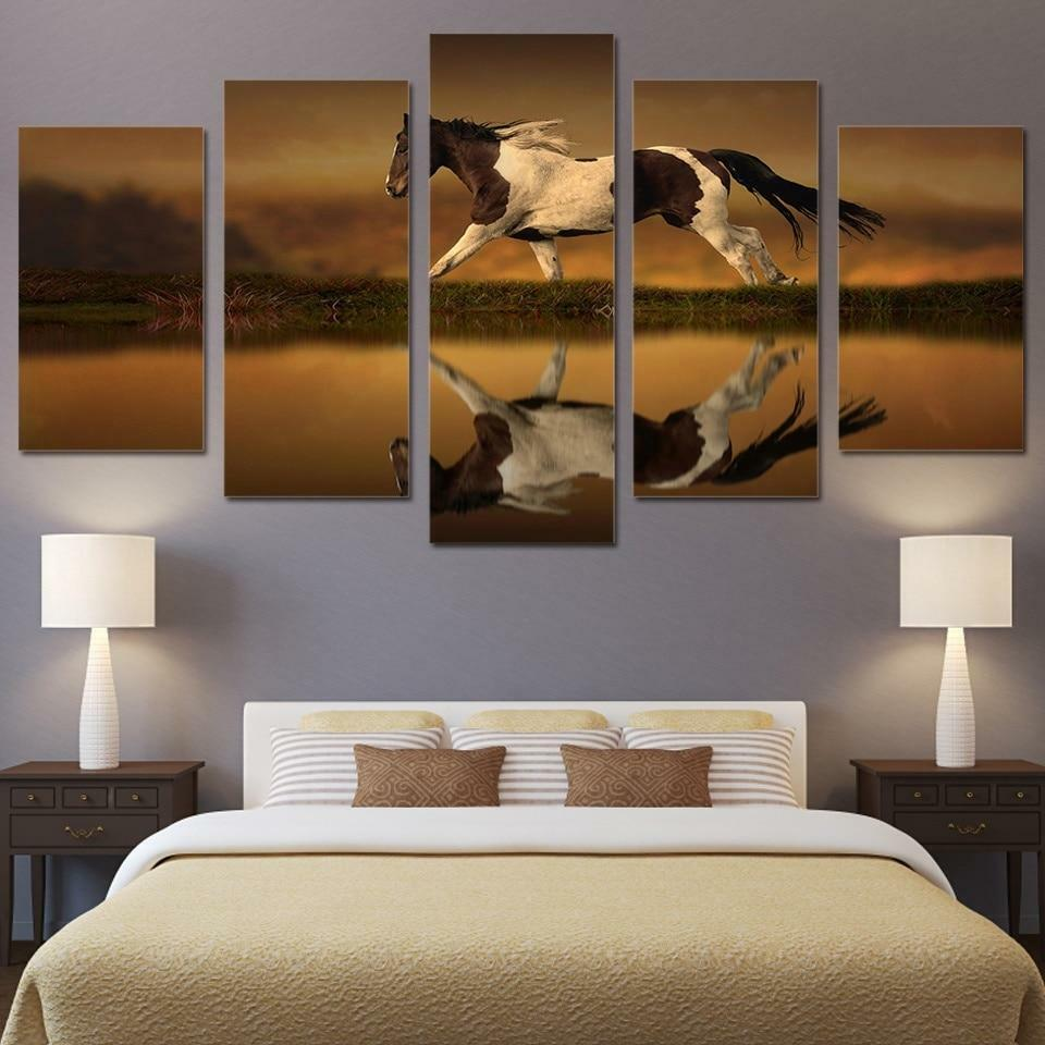 Horse Running Reflection 5 panel canvas Wall Art Home Decor Poster Print