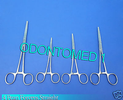"""4 Rochester Pean Hemostat Forceps 5.5""""+6""""+7""""+10"""" Straight Surgical Instruments"""