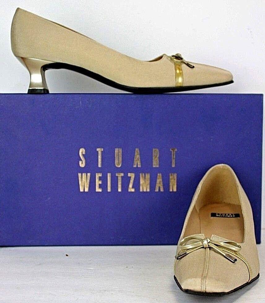 Stuart Weitzman Pumps size 5.5 AA gold Satin Fabric Patent Trim WF23 FW286
