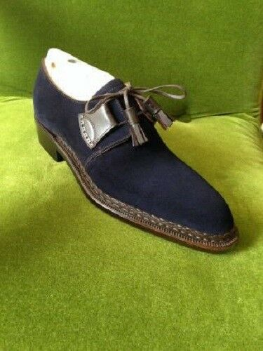 Handmade Uomo Navy Blue Blue Navy Shoes, Uomo Suede Pelle Shoes, Dress Formal Shoes Uomo 2d5987