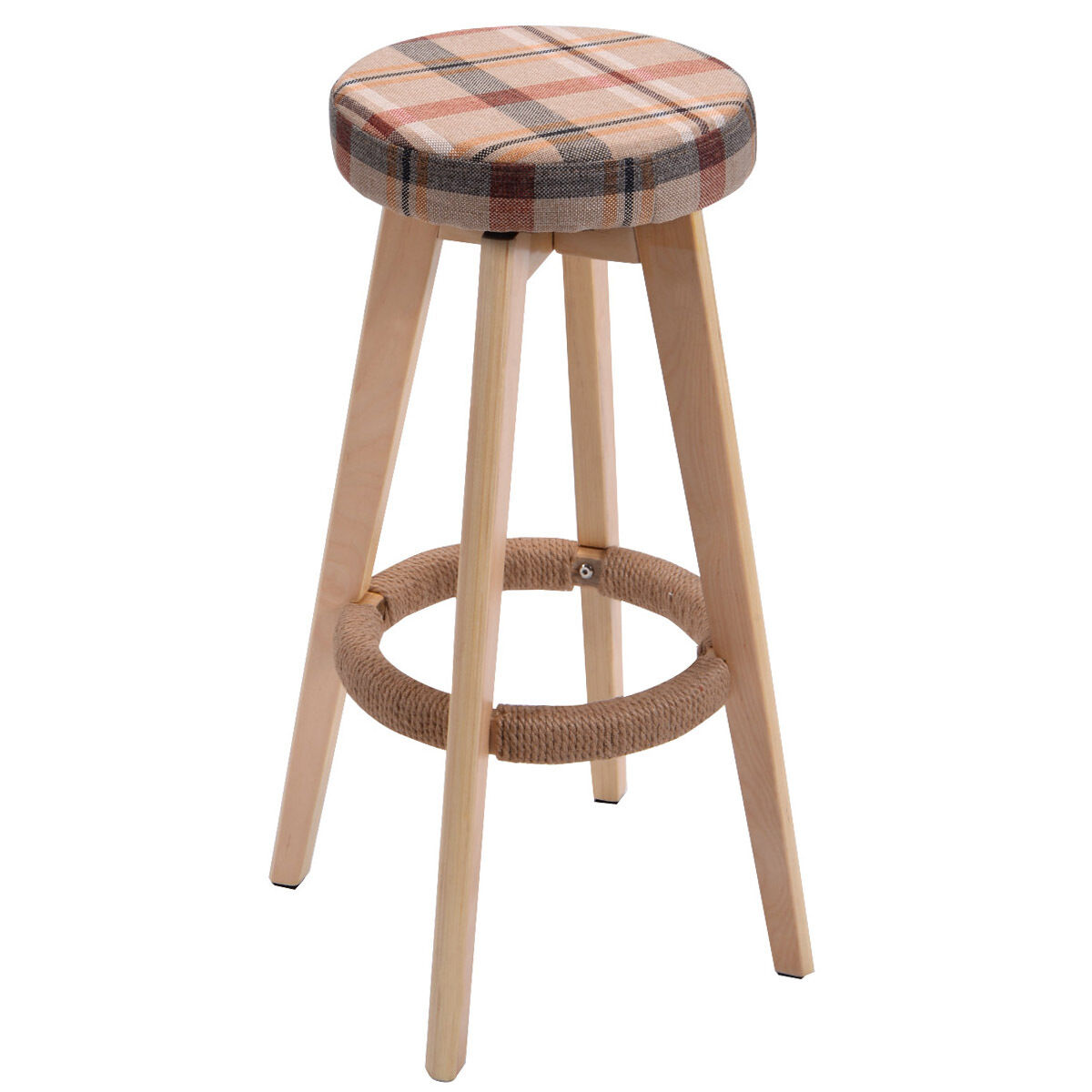 Round Wooden Chair Linen Bar Stool Dining Counter