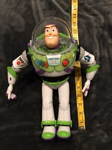 """12"""" Talking Buzz Lightyear Wings Action Figure Toy Story Disney head moves"""
