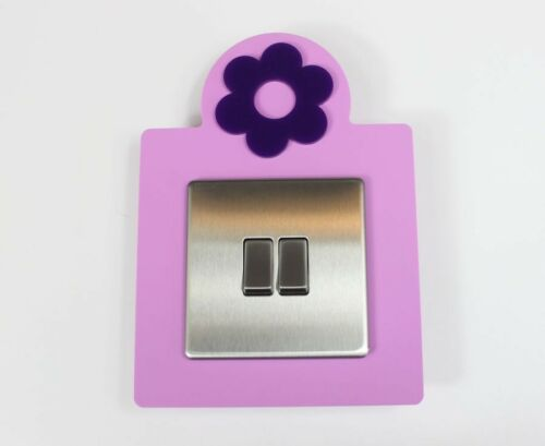 Flower Light Switch Surround Plastic Kids Room 3D Design More Colours
