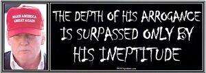 ANTI-Trump-THE-DEPTH-OF-HIS-ARROGANCE-humorous-political-bumper-sticker
