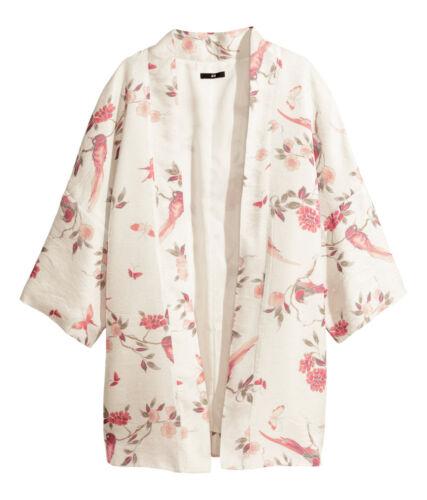 H&M White Oriental Floral Bird Lustre Kimono UK 6-8 (EU 32-34) 10-12 (EU 36-38)