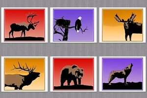 6-Blank-Note-Greeting-Cards-1-Each-Caribou-Moose-Elk-Eagle-Bear-Wolf-at-Sunset
