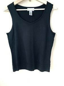 NWT-Rena-Rowan-Sleeveless-Knit-Top-Beaded-Hemline-Size-Small-S-Black