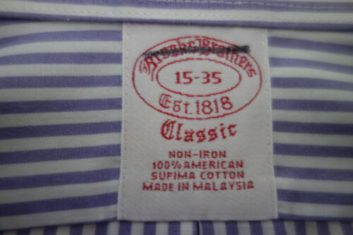 NWOT Brooks Brothers Non Iron Lavender Stripe Traditional Fit Supima MSRP $92