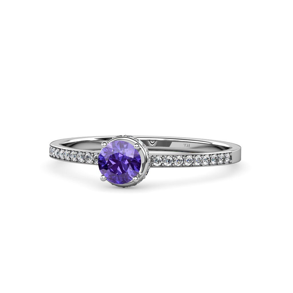 Iolite & Diamond Halo Engagement Ring 0.83 cttw in 14K gold JP 58943