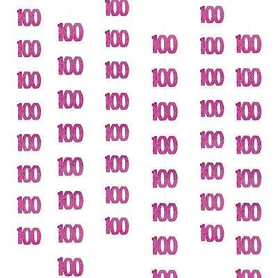 6 Happy 100th Birthday Pink Sparkle Prismatic 5ft String Party Decorations
