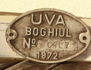 Lokschild-Fabrikschild-Typenschild-Firma-UVA-Boghiul-aus-Rumaenien-von-1972