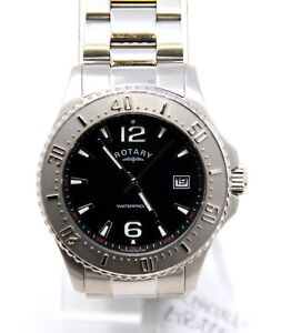 Authentic-Rotary-Men-039-s-GB00025-04-Swiss-Quartz-Black-Face-Stainless-Watch-NEW