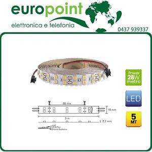 Striscia-Strip-LED-28-8W-mt-bobina-5-metri-luce-calda-2700K-28-8-WATT-al-METRO