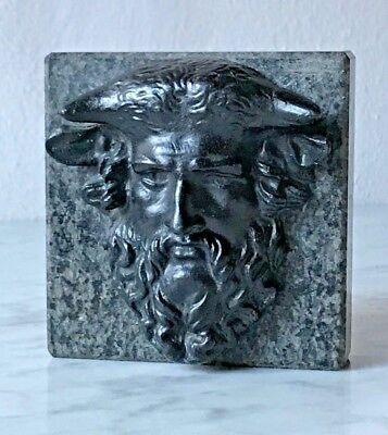 Zeus Ammon - Relief-kopf Aus Bronze Auf Marmor, Hellenistisch, Replikat