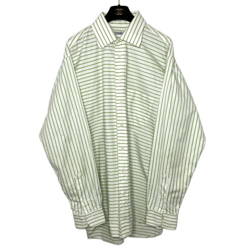 Burberry London Dress Shirt 17 L White Green Strip