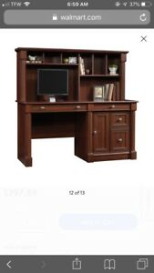 Sauder Palladia Computer Desk With Hutch Select Cherry