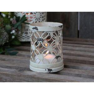 Windlicht-Teelichthalter-m-Spitzenkante-Kerzenstaender-Glas-Chic-Antique-Shabby