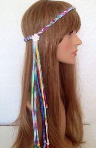 TIE-DYE-70s-Beaded-Daisy-Plaited-Braided-Fringe-Headband-Boho-Hippie-Ibiza-Fest