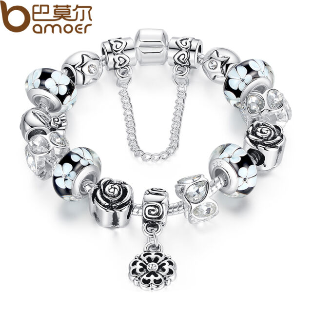 Luxury DIY European Silver Charm Bracelet With Flowers Glasses For Women Jewelry