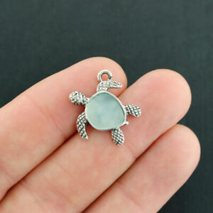 BULK 20 Turtle Silver with Soft Blue Sea Glass Charms SC3646