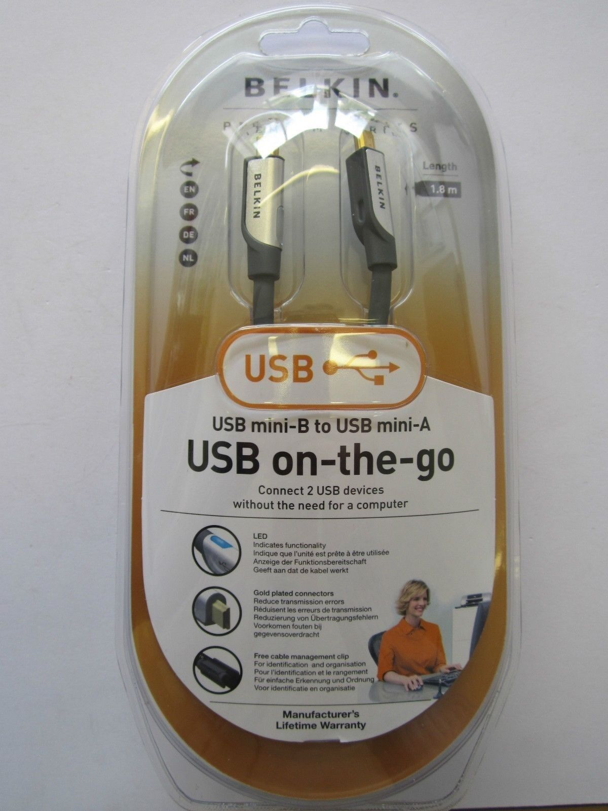 Genuine Original USB Mini-B to USB Mini-A (OTG On the Go) Cable Lead
