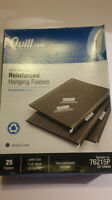 Quill Reinforced Hanging Folders Letter 11pt 1/5 Cut 25ct Office Supply Organize