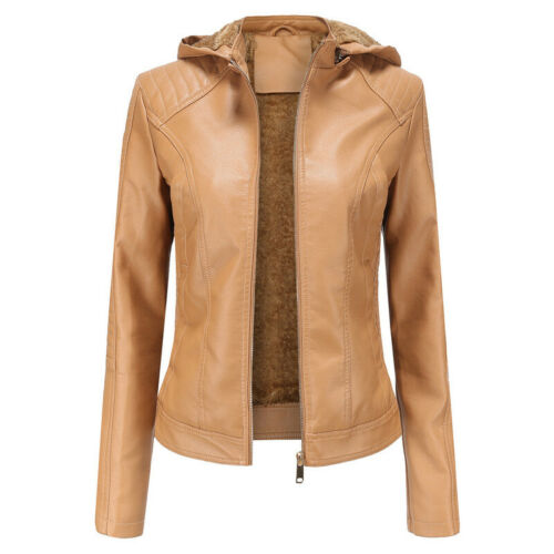 Women Fur Ladies Trench Winter Leather Hooded Faux Parka Coats Jacket Warm Tops
