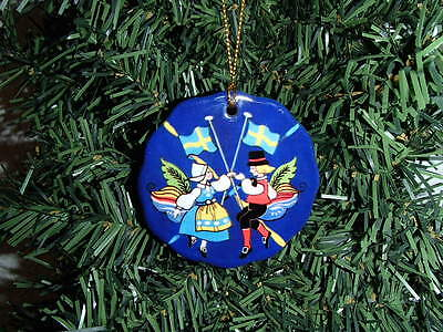 Swedish Dancing Couple with Sweden Flags Christmas Ceramic Ornament #093A