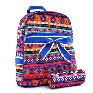 New-Women-Quilted-Cotton-Backpack-Book-Bag-Travel-Rucksack-Schoolbag-Bow-Aztec