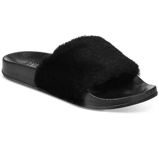 NWT INC International Concepts FauxFur Slides Slippers Flip Flops Black XL 11/12