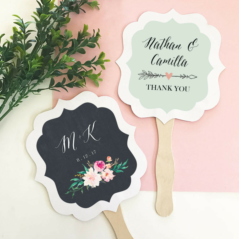 Personalized Rustic Garden Floral Paddle Hand Fans Wedding Bridal Shower Favors