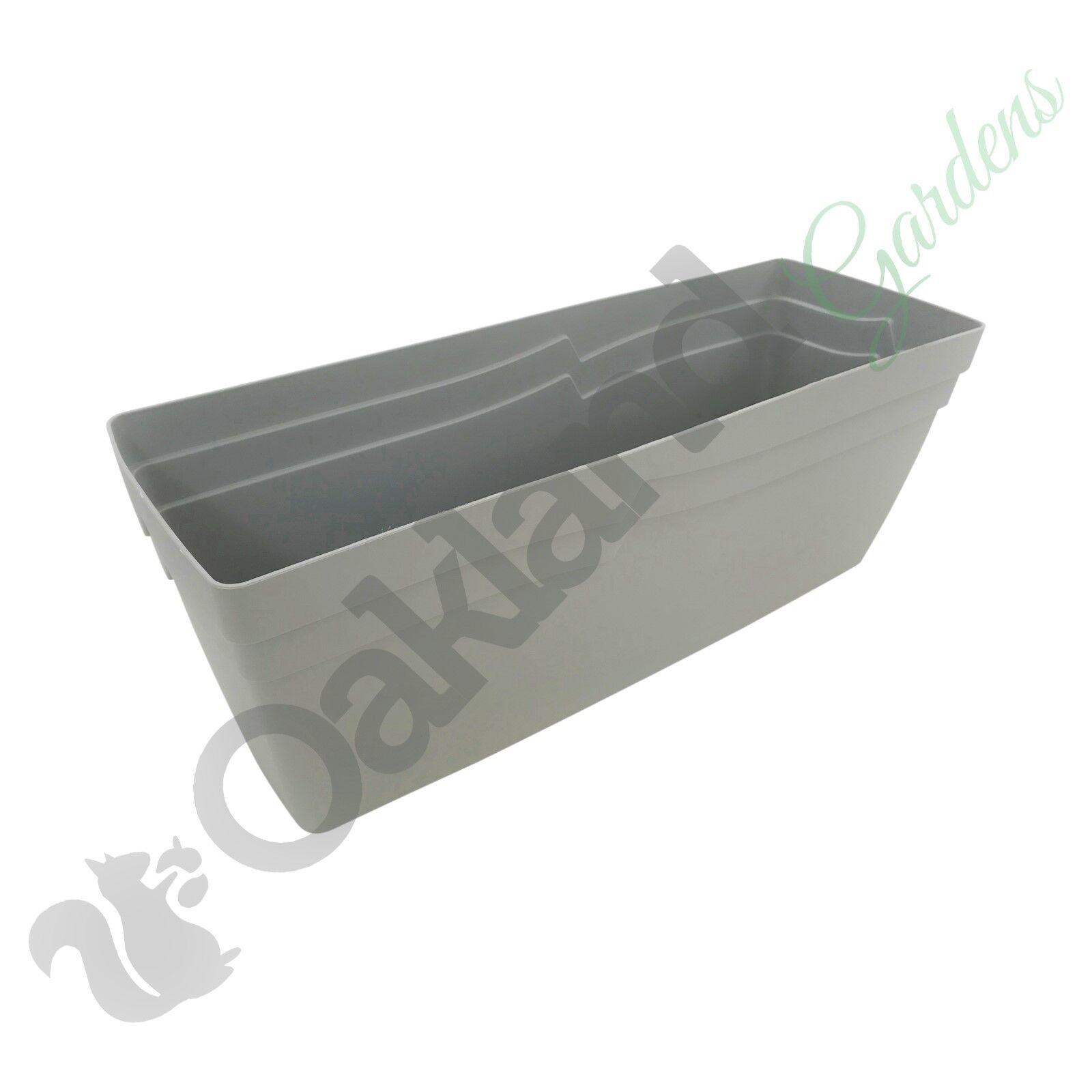 2 x 49cm Self Watering Stone Grey Boston Window Box Coloured Planter Plant Pot