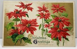 Christmas-Greeting-Embossed-Poinsettias-Gold-Trim-John-Winsch-1912-Postcard-C8