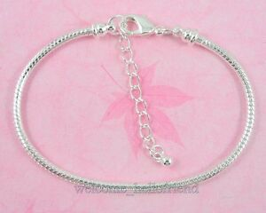 Silver-P-Lobster-Clasp-Snake-Chain-Charm-Bracelet-Fit-European-Beads-P02