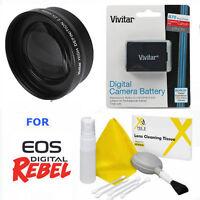 Sport Action Tele Zoom Lens 2x + Lp-e10 Lpe10 Battery For Canon Eos Rebel T3 T5