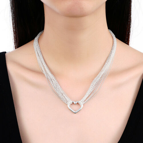 Fashion 925Sterling Silver Sweet Heart  Many Chains Lady Necklace GN028
