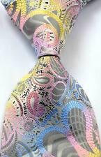 New Classic Paisley Floral Gray Pink JACQUARD WOVEN Silk Men's Tie Necktie