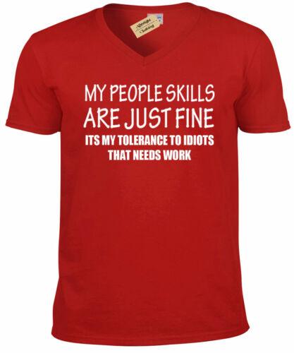 PEOPLE SKILLS Funny Mens T-Shirt sarcastic gift sarcasm humour joke tee V-Neck