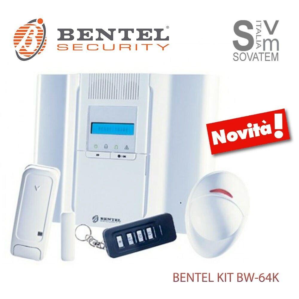 KIT COMPLETO BENTEL BW64-K ANTIFURTO WIRELESS CON SENSORE E CONTATTO 64 ZONE