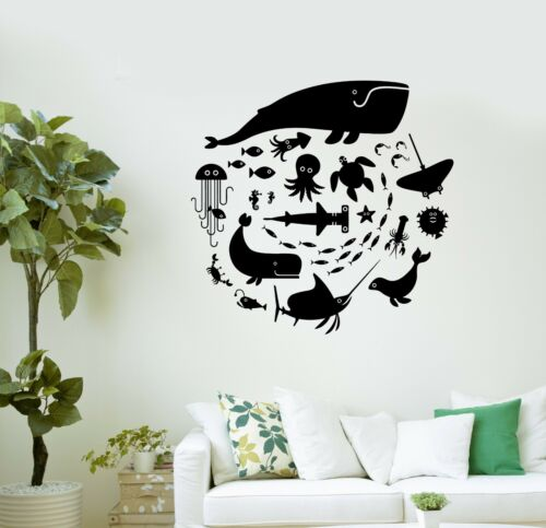 Details about  /Wall Decal Whale Octopus Fish Marine Animals Bathroom Vinyl Stickers ig3008