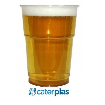 Plastic Pint / Half 1/2 Pint Disposable Beer Glasses Cups Tumblers. Clear.Strong