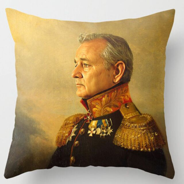 "2 Sided Bill Murray as a Captain Pillow Case Cover Art Print 16 x 16"" New"