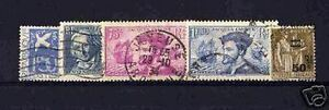 Francia-Stamp-Ano-Completo-1934-Yvert-294-298-5-Sellos-Obliterados-MB