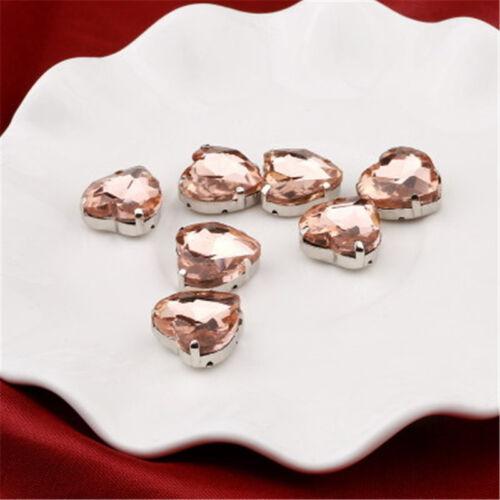 cose en corazón de diamantes de imitación 10 mm Cristal cabujones de cristal tallado Hazlo tú mismo vestido haciendo 50 un