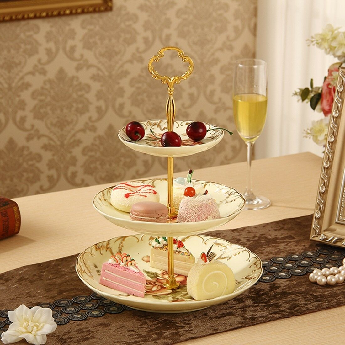 Silvery Plates Cake Stand Fittings Handle Rod Royal Crown